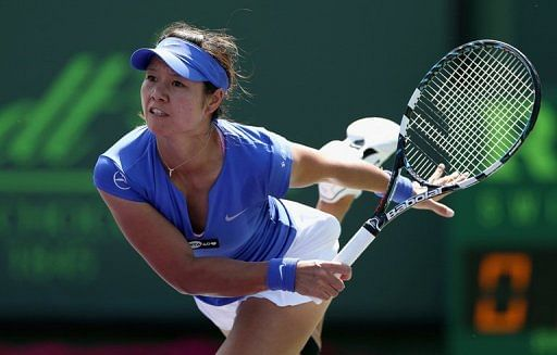 Li Na of China serves against Varvara Lepchenko on March 23, 2013 in Key Biscayne, Florida
