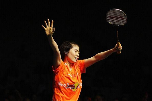Deng Xuan of China celebrates winning the New Zealand Badminton Open Women