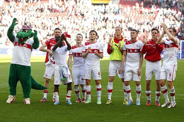 Players of Stuttgart celebrate after the Bundesliga match between VfB Stuttgart and VfL Borussia Moenchengladbach at Mercedes-Benz Arena on April 14, 2013 in Stuttgart, Germany.  (Photo by Thomas Niedermueller/Bongarts/Getty Images)