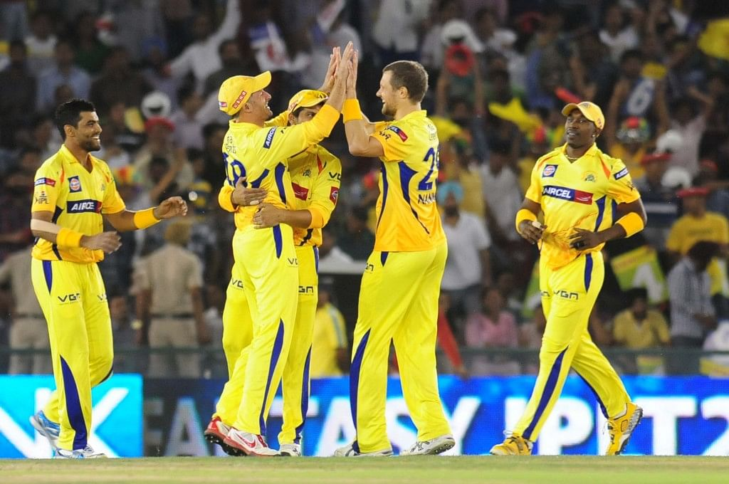Chennai Super Kings bowler Nannes celebrating after taking the wicket of Adam Gilchrist during the match between Kings XI Punjab and Chennai Super Kings at Mohali stadium in Punjab on April 10, 2013. (Photo: IANS)