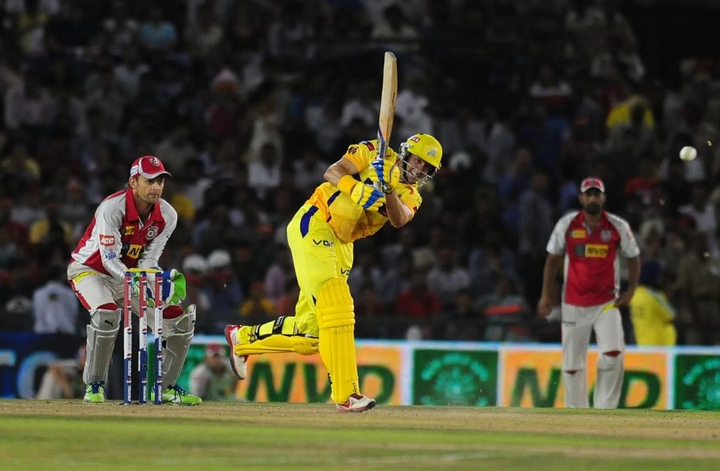 Chennai Super Kings openers Michael Hussey in action during the match between Kings XI Punjab and Chennai Super Kings at Mohali stadium in Punjab on April 10, 2013. Chennai Super Kings won the match by 10 wickets and 16 balls remaining. (Photo: IANS)