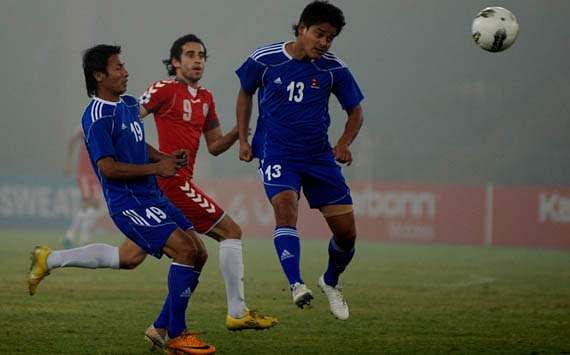 Arezou (in red) in action during SAFF Cup 2011