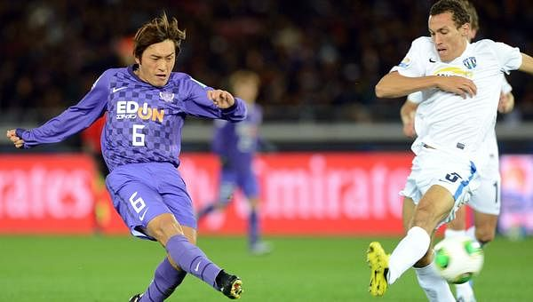 Berlanga (in white) in action during a Club World Cup match for Auckland City