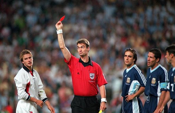 World Cup 1998 Finals, St. Etienne, France. 30th June, 1998. England 2 v Argentina 2 (Argentina win 4-3 on penalties). Referee Kim Milton Nielsen sends off England