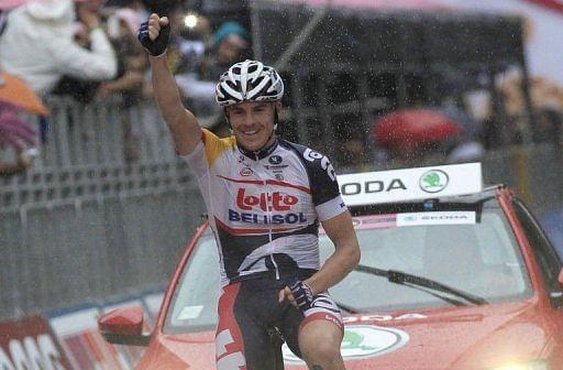 Australian rider Adam Hansen crosses the finish line of the seventh stage of the 96th Giro d