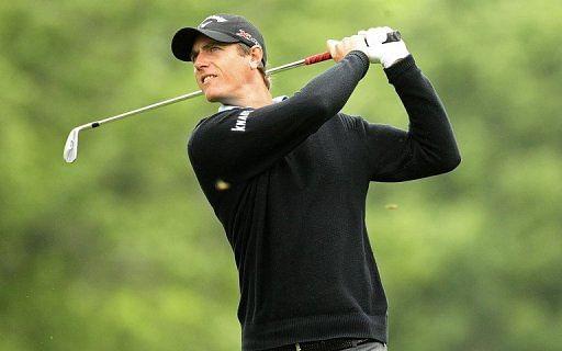 Nicolas Colsaerts hits a tee shot at Quail Hollow Club on May 2, 2013 in Charlotte