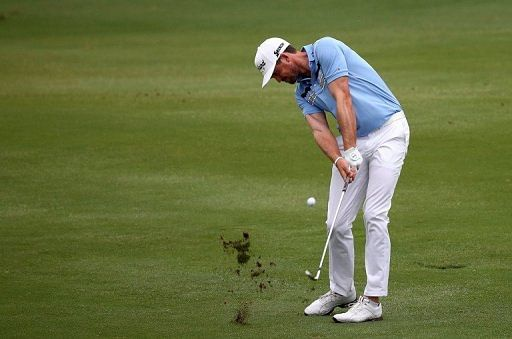 Keegan Bradley hits a shot during the first round of the 2013 HP Byron Nelson Championship on May 16, 2013 in Irving