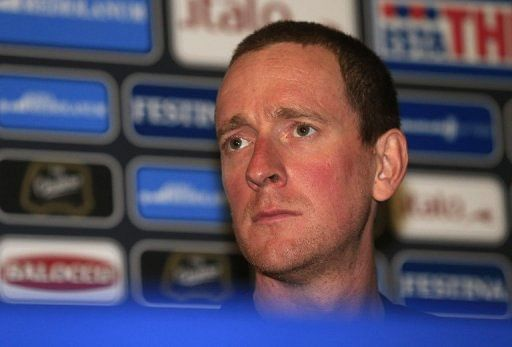 Bradley Wiggins at a press conference in Naples on May 2, 2013