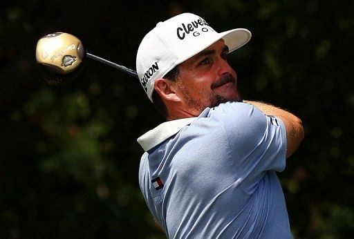 Keegan Bradley hits a shot during the third round of the Byron Nelson Championship on May 18, 2013 in Irving, Texas