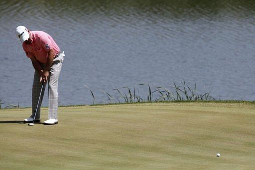 Graeme McDowell of Northern Ireland plays during the Volvo World Match-Play final in Kavarna, Bulgaria on May 19, 2013