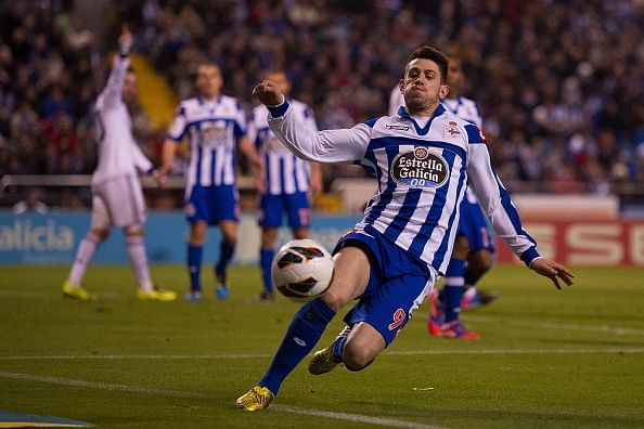 Luis Miguel Afonso Pizzi of RC Deportivo La Coruna chases the ball during the La Liga match between RC Deportivo La Coruna and Real Madrid CF