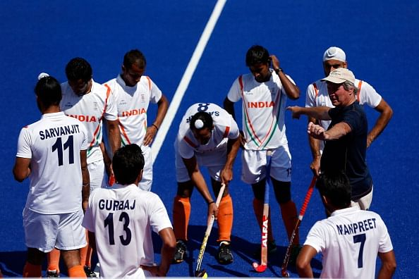 Coach Michael Nobbs of India talks to his team during practice ahead of the 2012 London Olympic Games at the Olympic Park on July 23, 2012 in London, England.  (Getty Images)