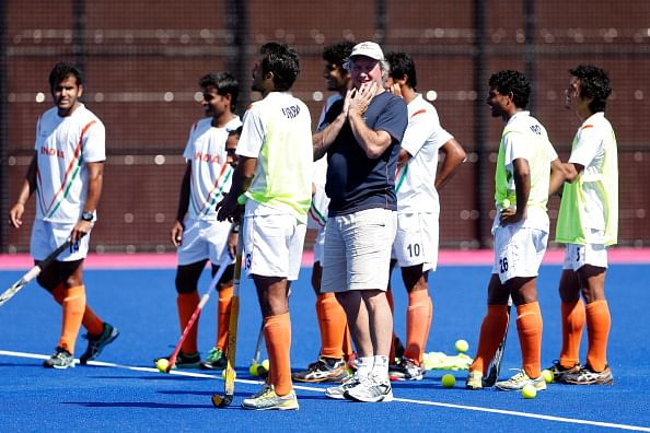 Coach Michael Jack Nobbs of India talks to his team during practice ahead of the 2012 London Olympic Games at the Olympic Park on July 23, 2012 in London, England.  (Getty Images)