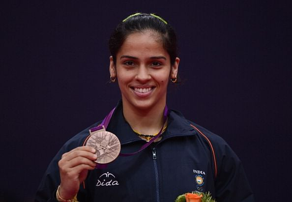 Saina Nehwal of India stands with her Bronze medal during London 2012 Olympic Games. Her name is often mispronounced as