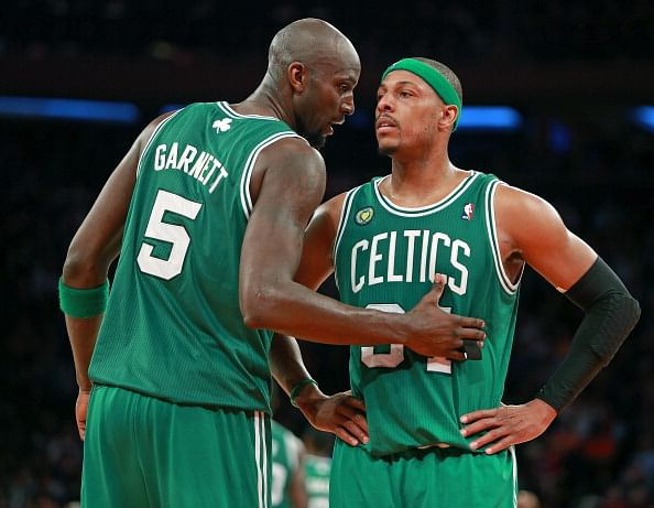 After their blockbuster trade from the Boston Celtics to the Brooklyn Nets, Kevin Garnett and Paul Pierce will look to end their career with at least another title. (Getty Images)