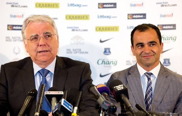 Everton chairman Bill Kenwright (L) speaks as new Everton manager Roberto Martinez looks on during the Everton FC press conference at Goodison Park on June 5, 2013 in Liverpool, England. (Getty Images)