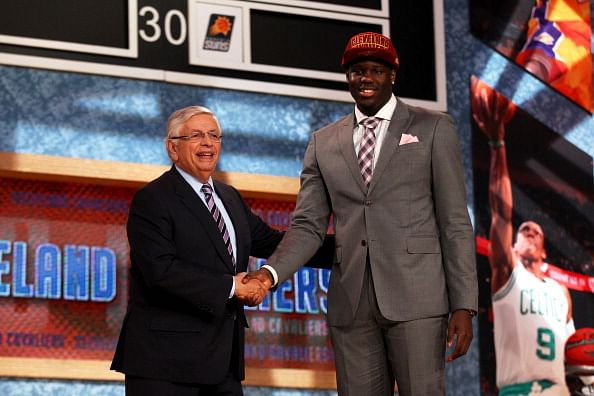 Anthony Bennett of UNLV poses for a photo with NBA Commissioner David Stern after Bennett was drafted #1 overall in the first round by the Cleveland Cavaliers during the 2013 NBA Draft at Barclays Center on June 27, 2013 in in the Brooklyn Bourough of New York City.  (Getty Images)