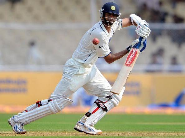 Indian cricketer Rahul Dravid plays a sh