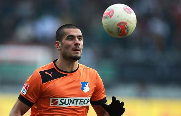 Eren Derdiyok of Hoffenheim in action during the Bundesliga match between FC Augsburg and TSG 1899 Hoffenheim at SGL Arena on February 23, 2013 in Augsburg, Germany.  (Getty Images)
