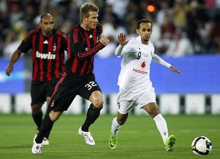 JafalRashed Al-Kuwari in his farewellmatchagainst AC Milan