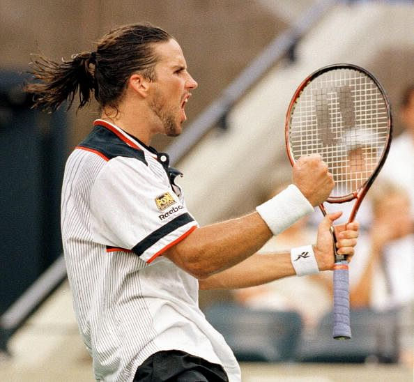 Number three seeded Patrick Rafter of Australia ce