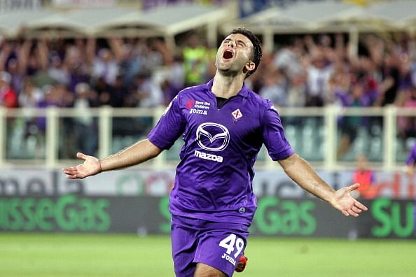 Giuseppe Rossi of ACF Fiorentina celebrates after scoring a goal during the Serie A match between ACF Fiorentina and Calcio Catania at Stadio Artemio Franchi on August 26, 2013 in Florence, Italy.  (Getty Images)