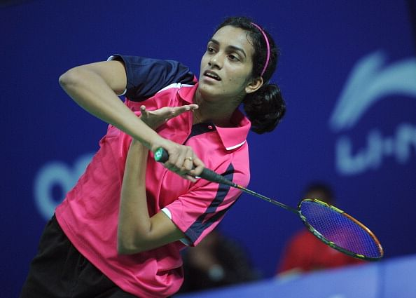 P V Sindhu in action.