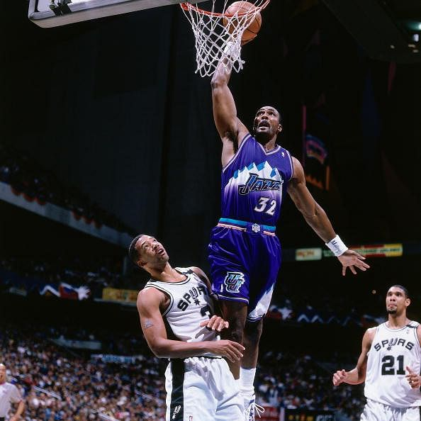 Milkman: Karl Malone has his #32 retired by the  Utah Jazz. (Getty Images)