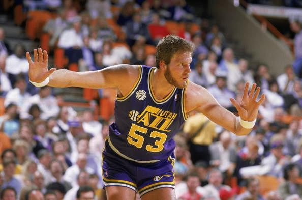 #8, at Sportskeeda's list of top 10 tallest basketball player in NBA is Mark Eaton.