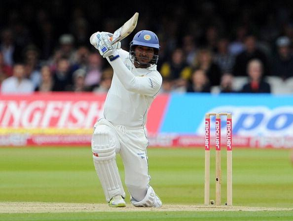 Kumar Sangakkara hits out during Test Match between England and Sri Lanka