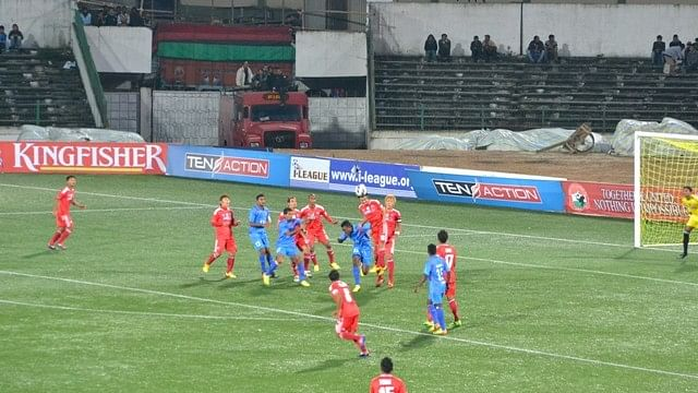 Lajong and Churchill Brothers played out an entertaining draw in Shillong Photo Credit: AIFF Media