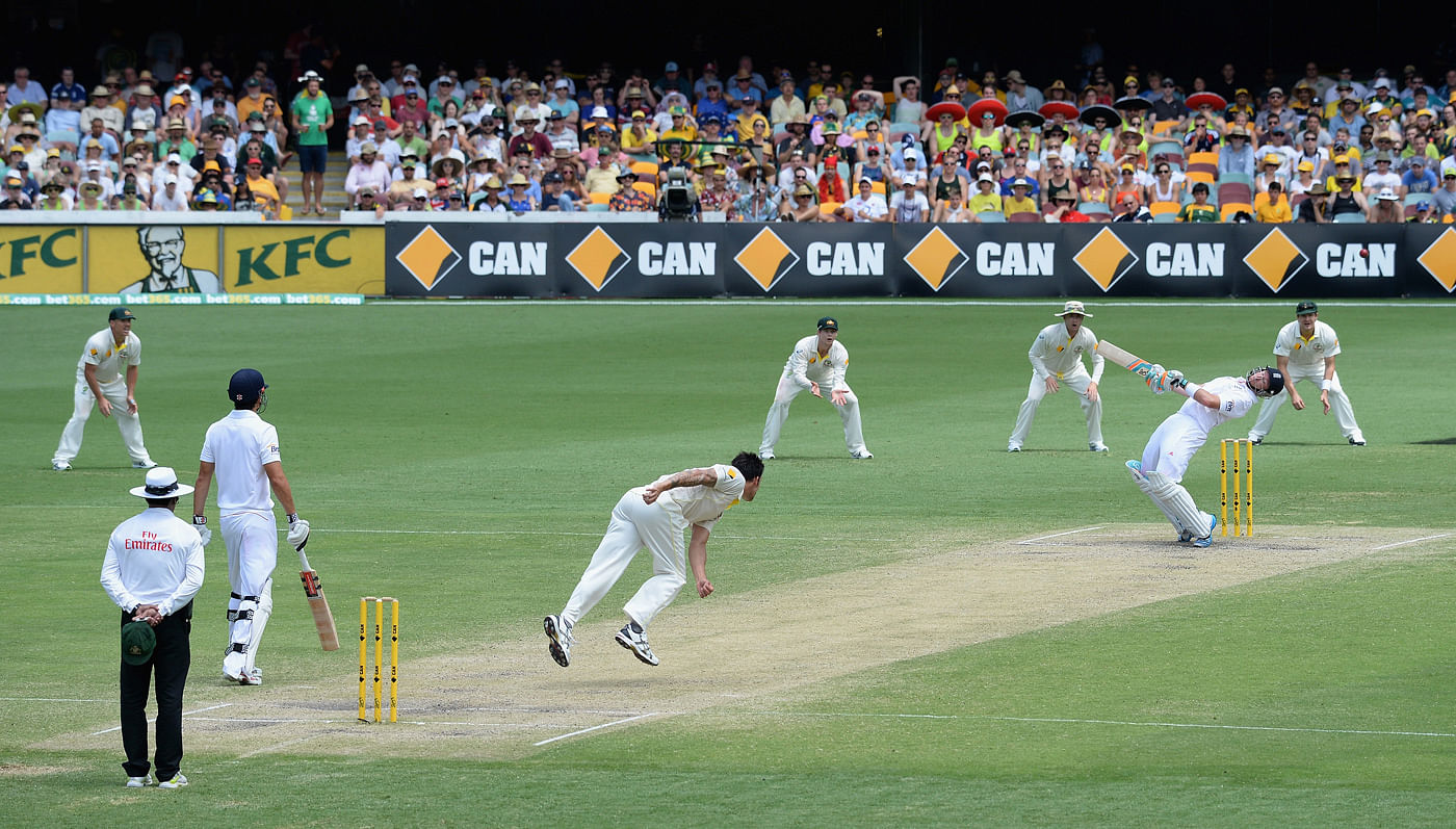 Mitchell Johnson bowling fiery spell at the Gabba  during 1st Ashes test match
