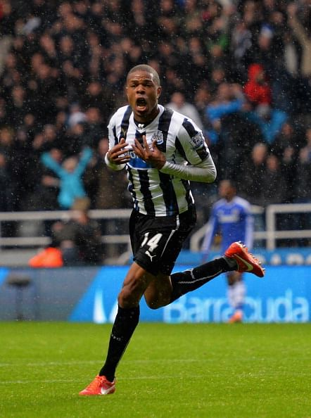 Loic Remy of Newcastle United celebrates scoring their second goal during the Barclays Premier League match between Newcastle United and Chelsea at St James