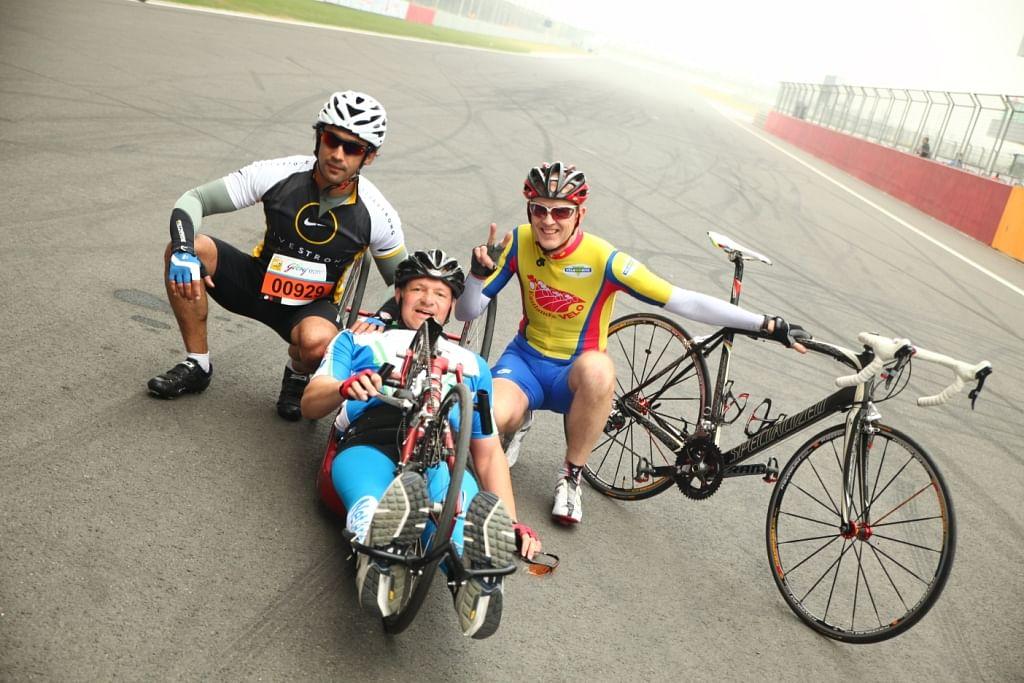 Amit Sadh with Stefan Voormans at Tour de India, 2013