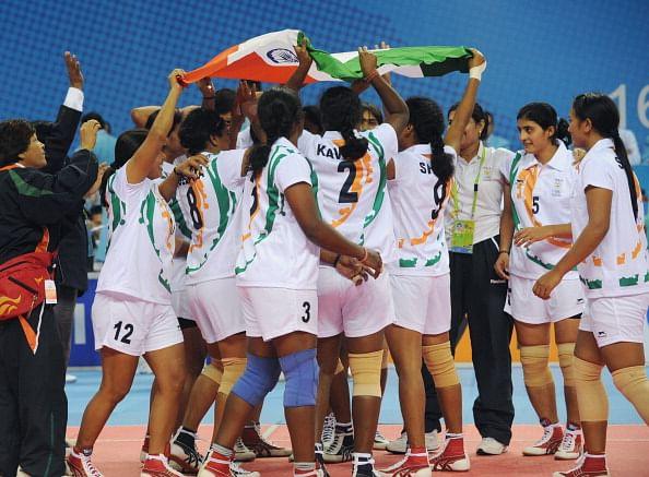 The Indian women kabaddi team celebrate