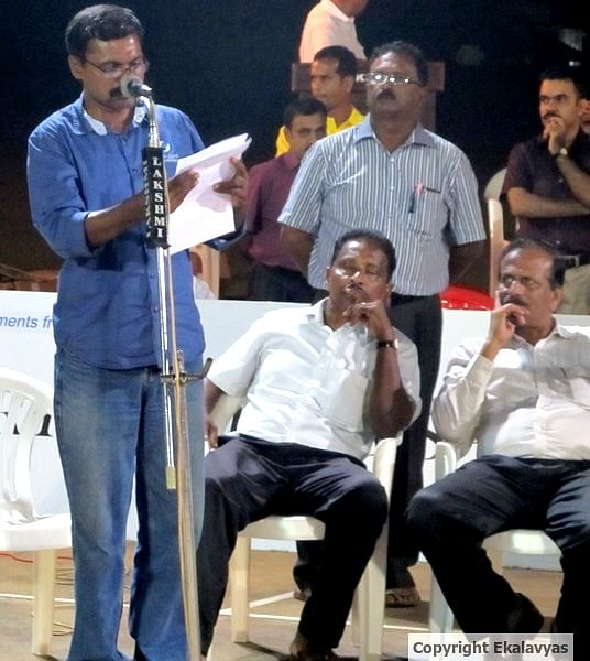 A member of the State Selection Committee announces the lists of probables while Kerala Basketball Association's (KBA) President Shri K Manoharan (seated far right) looks on. Copyright Ekalavyas