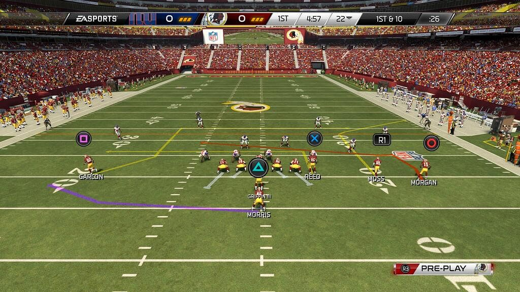 A screenshot showing gameplay of the latest in the Madden NFL series, Madden NFL 25 (credit: usgamer.net)
