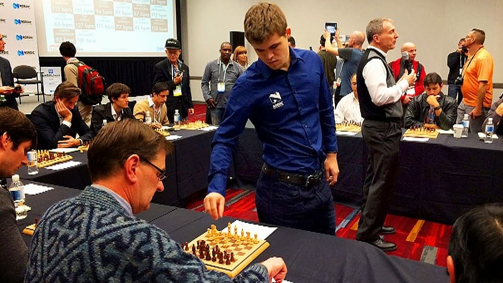 Magnus Carlsen Crushes 20 Opponents With Steady Heart Rate At Nordic Semi Exhibition