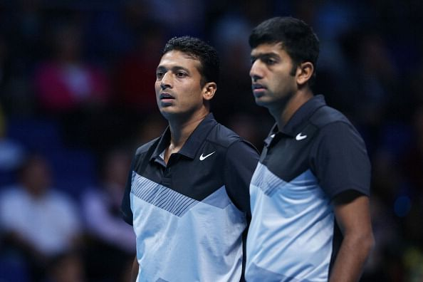 Mahesh Bhupathi and Rohan Bopanna - playing with different partners at the 2014 Australian Open