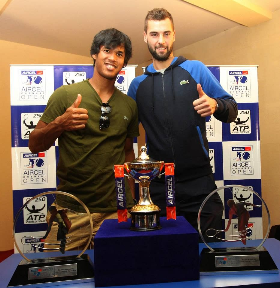 Somdev Devvarman and Benoit Paire at the start of the tournament