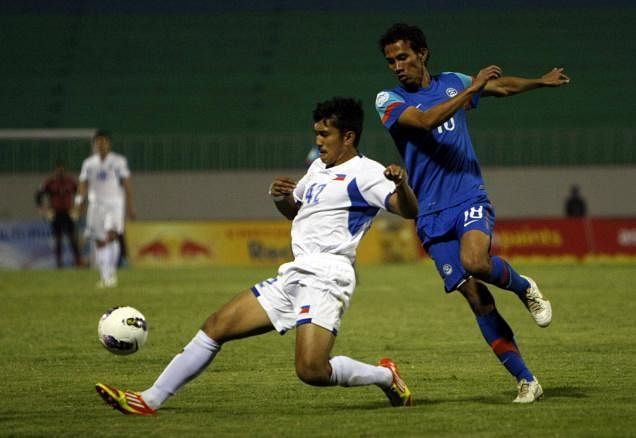 Sushil Kumar Singh (in blue) is one of the 13 IMG-R players that Eagles FC have loaned
