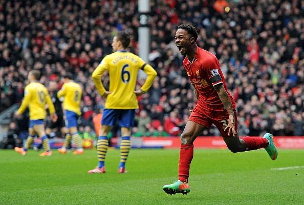 Sterling celebrating his goal against Arsenal