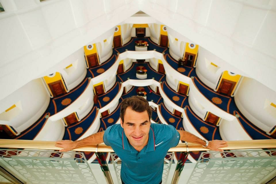 Roger Federer at the Burj Al Arab in Dubai ahead of the start of the 2014 championships