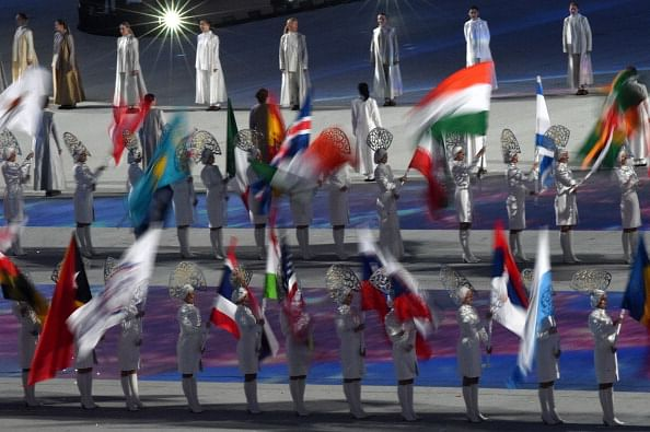 Flag bearers with the Indian tri colour
