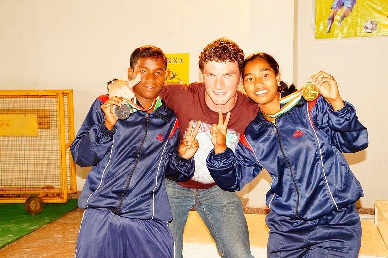 Medal Winners Prashanta Badamundi (Bronze) and Pinki Nayak (Gold) with Khel Vikas Head Coach, Cormac Whelan.