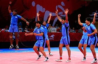 Indian kabaddi team celebrates winning the gold medal by defeating Pakistan at 2006 Asian Games