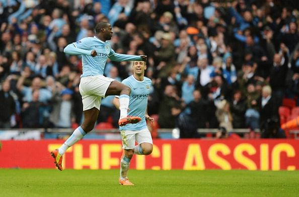 Yaya Toure celebrates his wonder goal