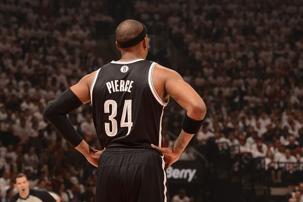 Paul Pierce #34 of the Brooklyn Nets stands on the court during Game One of the Eastern Conference Quarterfinals against the Toronto Raptors of the 2014 NBA playoffs on April 19, 2014 at the Air Canada Centre in Toronto, Ontario, Canada