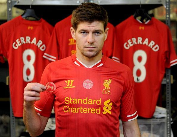 Steven Gerrard Demonstrates Commemorative Iron-On Hillsborough Patch