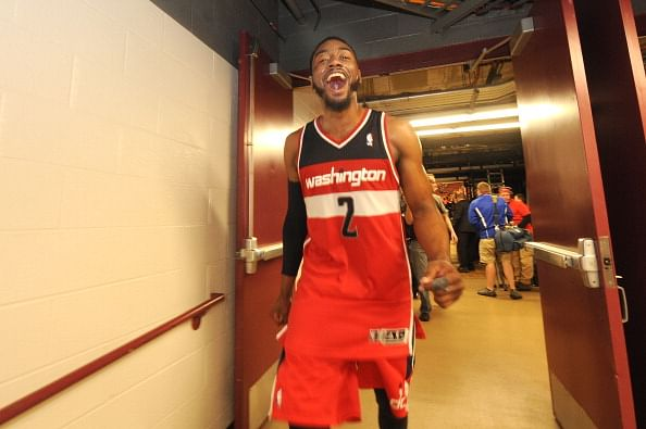 John Wall #2 of the Washington Wizards celebrates after Game 5 of the Eastern Conference Quarterfinals against the Chicago Bulls in the 2014 NBA Playoffs on April 29, 2014 at the United Center in Chicago, Illinois.